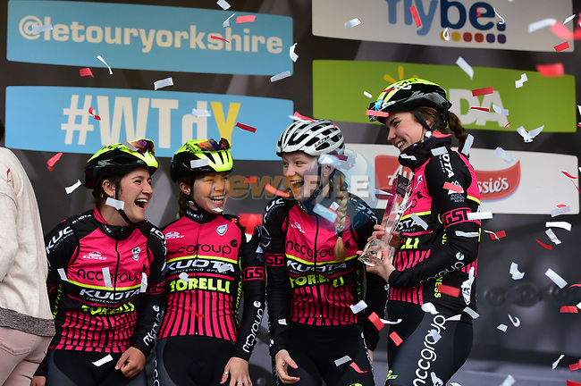 NCC Group-Kuota-Torelli team at sign on before the start of the ASDA Women's Tour de Yorkshire 2017 running 122.5km from Tadcaster to Harrogate, England. 29th April 2017. <br /> Picture: ASO/P.Ballet | Cyclefile<br /> <br /> <br /> All photos usage must carry mandatory copyright credit (&copy; Cyclefile | ASO/P.Ballet)