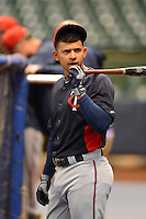 Minnesota Twins infielder Eduardo Escobar #5 during batting practice before a game against the Milwaukee Brewers at Miller Park on May 27, 2013 in Milwaukee, Wisconsin.  Minnesota defeated Milwaukee 6-3.  (Mike Janes/Four Seam Images)