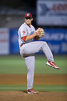 Lakewood BlueClaws relief pitcher Scott Harris (34) in action against the Kannapolis Intimidators at CMC-Northeast Stadium on May 16, 2015 in Kannapolis, North Carolina.  The BlueClaws defeated the Intimidators 9-7.  (Brian Westerholt/Four Seam Images)
