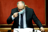 The Italian Minister of Economy Roberto Gualtieri at the Senate wearing the face mask during the discussion and vote for the updating of the budget document for 2020. Rome (Italy), July 29th 2020<br /> Photo Samantha Zucchi Insidefoto