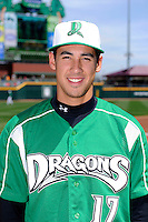Dayton Dragons pitcher Robert Stephenson #17 poses for a photo before a game against the Bowling Green Hot Rods on April 21, 2013 at Fifth Third Field in Dayton, Ohio.  Bowling Green defeated Dayton 7-5.  (Mike Janes/Four Seam Images)