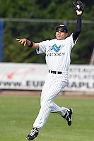 03 September 2011: Zerzinho Croes of Vaessen Pioniers makes a catch during game 1 of the 2011 Holland Series won 5-4 in inning number 14 by L&D Amsterdam Pirates over Vaessen Pioniers, in Hoofddorp, Netherlands.
