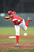 Batavia Muckdogs pitcher Christian MacDonald (39) delivers a pitch during a game against the State College Spikes on July 3, 2014 at Dwyer Stadium in Batavia, New York.  State College defeated Batavia 7-1.  (Mike Janes/Four Seam Images)
