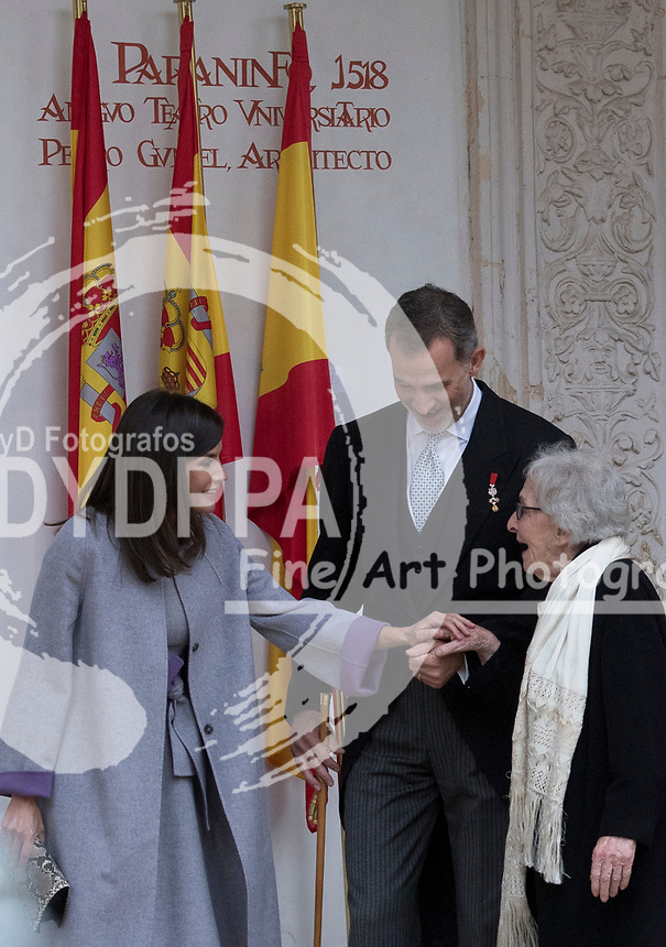 Kings of Spain, King Felipe VI of Spain and Queen Letizia of Spain delivers the Cervantes prize for literature in Spanish to the Uruguayan writer Ida Vitale (R) at the Paraninfo of the Alcala University in the World Heritage City of Alcala de Henares near Madrid on April 23, 2019.