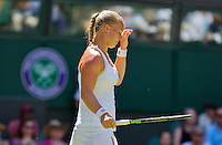 England, London, June 30, 2015, Tennis, Wimbledon, Kiki Bertens (NED) is frustrated<br /> Photo: Tennisimages/Henk Koster