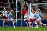 17th November 2019; Academy Stadium, Manchester, Lancashire, England; The FA Womens Super League, Manchester City Women versus West Ham United Women; Steph Houghton of Manchester City Women takes a direct free kick towards goal - Editorial Use