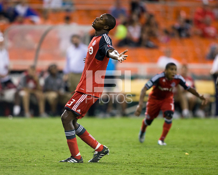 Andy Iro (3) of Toronto FC reacts to a foul being called on him during the game at RFK Stadium in Washington, DC.  D.C. United tied Toronto FC, 3-3.