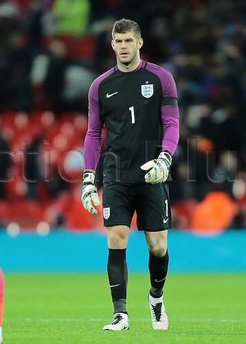 29.03.2016. Wembley Stadium, London, England.  International Football Friendly England versus Netherlands. England Goalkeeper Fraser Forster looks dejected at full time, after loosing 2-1