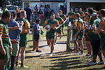 Niva Ta'auso leads the Pukekohe team out for the Counties Manukau Premier Club Rugby game between Onewhero and Pukekohe, played at Onewhero, on Saturday April 05 2014. Onewhero won the game 28 - 23 after leading 17 - 15 at halftime.  Photo by Richard Spranger