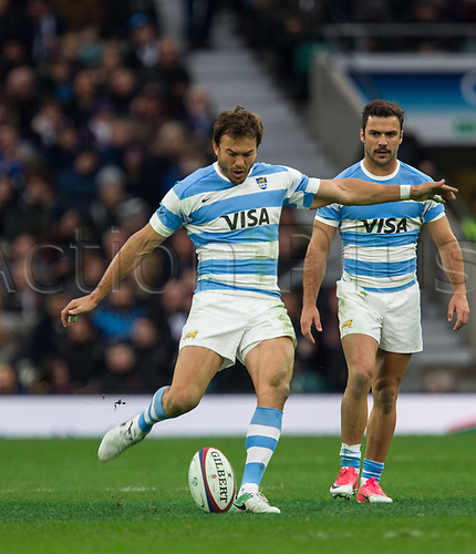 11th November 2017, Twickenham Stadium, London, England; Autumn International Series, England versus Argentina;  Juan Martin Hernandez kicks from the centre spot to restart the game