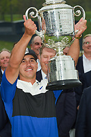 Brooks Koepka (USA) hoists the trophy for winning the 2019 PGA Championship, Bethpage Black Golf Course, New York, New York,  USA. 5/19/2019.<br /> Picture: Golffile | Ken Murray<br /> <br /> <br /> All photo usage must carry mandatory copyright credit (© Golffile | Ken Murray)