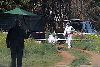 Saturday 18 March 2017<br /> Pictured: Police forensics officers from the UK at the scene where the remains of Steven Cook where discovered in a well in Malia, Crete, Greece.<br /> Re: Human remains found on the Greek island of Crete, where a British tourist went missing 12 years ago, are those of Steven Cook, 20, from Sandbach, Cheshire, who was last seen in 2005 outside a pub in Malia asking for directions.<br /> A human skeleton was found in a well by workers, near the area of the last reported sighting, along with a disposable camera and belt.<br /> <br /> Credit/byline: Stefanos Rapanis/Athena Pictures