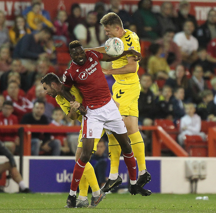 Fleetwood Town's Harry Souttar battles with Nottingham Forest's Sammy Ameobi <br /> <br /> Photographer Mick Walker/CameraSport<br /> <br /> The Carabao Cup First Round - Nottingham Forest v Fleetwood Town - Tuesday 13th August 2019 - The City Ground - Nottingham<br />  <br /> World Copyright © 2019 CameraSport. All rights reserved. 43 Linden Ave. Countesthorpe. Leicester. England. LE8 5PG - Tel: +44 (0) 116 277 4147 - admin@camerasport.com - www.camerasport.com