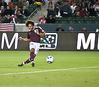 Colorado Rapid forward Quincy Amarikwa (12) shoots toward an open goal to score the games only goal during the first half of the game between Chivas USA and Colorado Rapids at the Home Depot Center in Carson, CA, on March 26, 2011. Final score Chivas USA 0, Colorado Rapids 1.