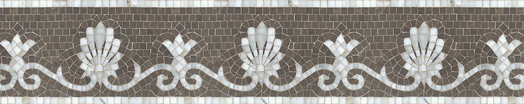 "8"" Goddess border, a hand-cut mosaic shown in polished Calacatta Tia and honed Montevideo by New Ravenna."