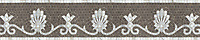 """8"""" Goddess border, a hand-cut mosaic shown in polished Calacatta Tia and honed Montevideo by New Ravenna."""