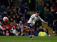 7th March 2020; Turf Moor, Burnley, Lanchashire, England; English Premier League Football, Burnley versus Tottenham Hotspur; Giovani Lo Celso of Tottenham Hotspur curls in a shot from the edge of the area just missing the far post