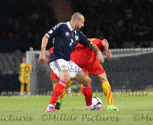Alan Hutton tackles Goran Pandev in the Scotland v Macedonia FIFA World Cup Qualifying match at Hampden Park, Glasgow on 11.9.12.