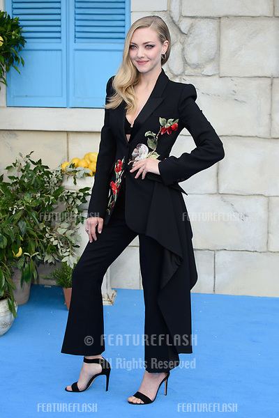 "Amanda Seyfried arriving for the ""Mama Mia! Here We Go Again"" world premiere at the Eventim Apollo, Hammersmith, London, UK. <br /> 16 July  2018<br /> Picture: Steve Vas/Featureflash/SilverHub 0208 004 5359 sales@silverhubmedia.com"