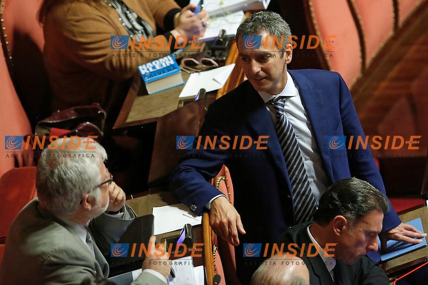 Luis alberto Orellana, Lorenzo Battista<br /> Roma 19-04-2016 Senato. Mozione di sfiducia al Governo da parte del Movimento 5 Stelle, della Lega Nord  di Forza Italia.<br /> Photo Samantha Zucchi Insidefoto