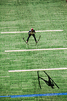 Olympic medalist in the 2010 Winter Olympics, Johnny Spillane,  Summer nordic ski jumping competition on artificial surface at Howelsen Hill, Steamboat Springs, Colorado.