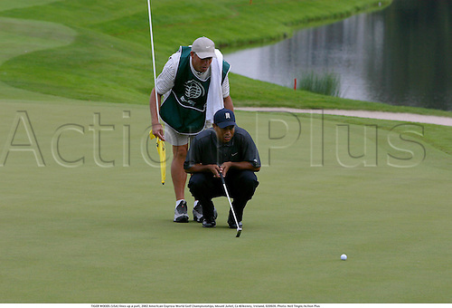 TIGER WOODS (USA) lines up a putt on the 18th green, 2002 American Express World Golf Championships, Mount Juliet, Co Kilkenny, Ireland, 020920. Photo: Neil Tingle/Action Plus...golf golfer player.putts putting.....................