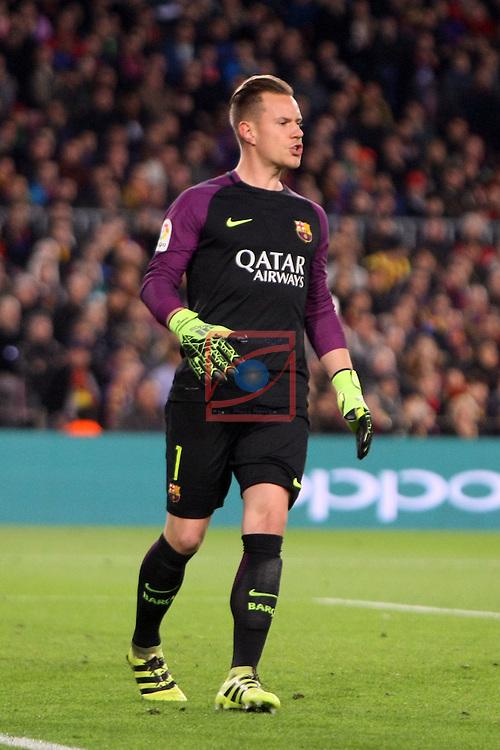 League Santander 2016/2017. Game: 16.<br /> FC Barcelona vs RCD Espanyol: 4-1.<br /> Marc-Andre ter Stegen.