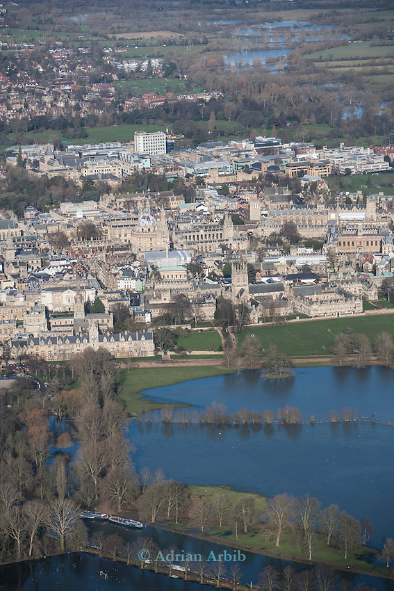 The  Thames, Oxford in  flood . <br /> View of Oxford, looking  North  east<br /> Christchurch meadow and the flooded Thames to the bottom of the image.