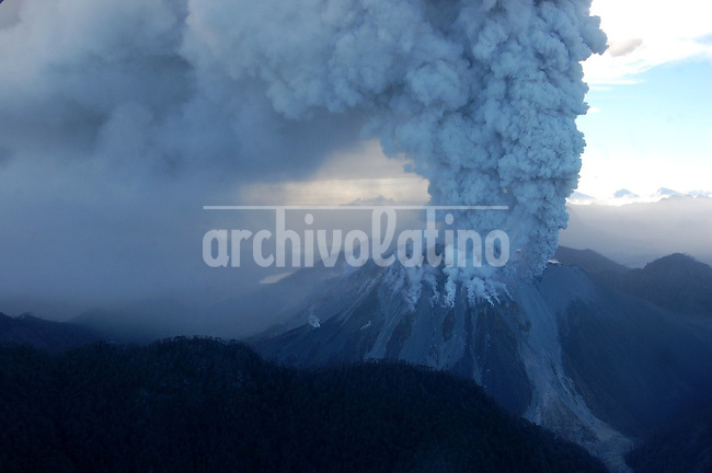 Chaiten volcano shows signs of activity release a dense cloud of smoke in the sky in Southern Chile. The eruption of the volcano force the evacuation of all dwellers of nearby Futaleufu town.