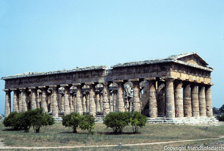 Italy: Paestum--Temple of Hera II (called Temple of Neptune) c. 450 B.C. Photo '83.