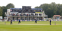 Mitch Claydon bowls a Glamorgan player with the Leslie Ames stand providing a backdrop during the Royal London One Day Cup game between Kent and Glamorgan at the St Lawrence Ground, Canterbury, on May 25, 2018