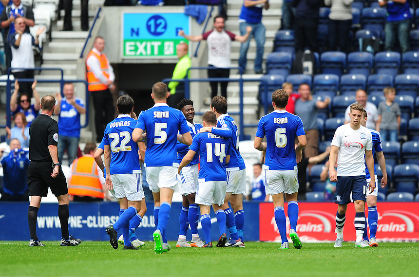 Ipswich Town's Ryan Fraser (number 14) celebrates scoring his sides second goal with team-mates<br /> <br /> Photographer Chris Vaughan/CameraSport<br /> <br /> Football - The Football League Sky Bet Championship - Preston North End v Ipswich Town - Saturday 22nd August 2015 - Deepdale - Preston<br /> <br /> &copy; CameraSport - 43 Linden Ave. Countesthorpe. Leicester. England. LE8 5PG - Tel: +44 (0) 116 277 4147 - admin@camerasport.com - www.camerasport.com
