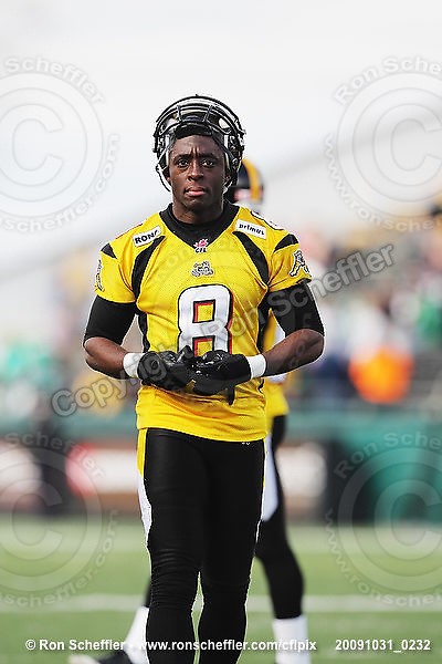 October 31, 2009; Hamilton, ON, CAN;  Hamilton Tiger-Cats wide receiver Corey Grant (8). CFL football: Saskatchewan Roughriders vs. Hamilton Tiger-Cats at Ivor Wynne Stadium. The Tiger-Cats defeated the Roughriders 24-6. Mandatory Credit: Ron Scheffler. Copyright (c) 2009 Ron Scheffler.