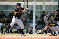 Pittsburgh Pirates outfielder Austin Meadows (36) at bat in front of catcher Reese McGuire (7) during an Instructional League intersquad scrimmage on September 29, 2014 at the Pirate City in Bradenton, Florida.  (Mike Janes/Four Seam Images)