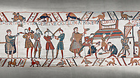 Bayeux Tapestry scene 45:  Norman soldiers train and built a fortified camp.
