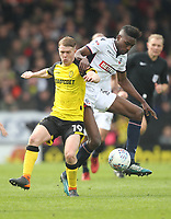 Bolton Wanderers Sammy Ameobi battles with  Burton Albion's Jacob Davenport<br /> <br /> Photographer Mick Walker/CameraSport<br /> <br /> The EFL Sky Bet Championship - Burton Albion v Bolton Wanderers - Saturday 28th April 2018 - Pirelli Stadium - Burton upon Trent<br /> <br /> World Copyright &copy; 2018 CameraSport. All rights reserved. 43 Linden Ave. Countesthorpe. Leicester. England. LE8 5PG - Tel: +44 (0) 116 277 4147 - admin@camerasport.com - www.camerasport.com