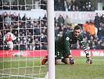 Tottenham?s Hugo Lloris looks on dejected after Arsenal's second goal<br /> <br /> - English Premier League - Tottenham Hotspur vs Arsenal  - White Hart Lane - London - England - 5th March 2016 - Pic David Klein/Sportimage