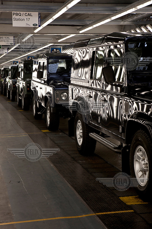 Newly finished Defender models at the end of the production line at the Land Rover plant in Solihull.