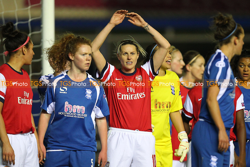 Kelly Smith of Arsenal Ladies in the middle of a packed penalty area - Birmingham City Ladies vs Arsenal Ladies - UEFA Womens Champions League Quarter-Final 1st Leg Football at St Andrews, Birmingham - 24/03/14 - MANDATORY CREDIT: Gavin Ellis/TGSPHOTO - Self billing applies where appropriate - 0845 094 6026 - contact@tgsphoto.co.uk - NO UNPAID USE