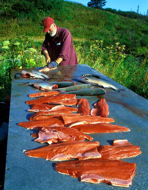 Fisherman filleting Sockeye Salmon. Kalgin Island, Alaska