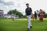 Kevin Na (USA) and his family depart the green on 18 after winning the 2019 Charles Schwab Challenge, Colonial Country Club, Ft. Worth, Texas,  USA. 5/26/2019.<br /> Picture: Golffile | Ken Murray<br /> <br /> All photo usage must carry mandatory copyright credit (© Golffile | Ken Murray)