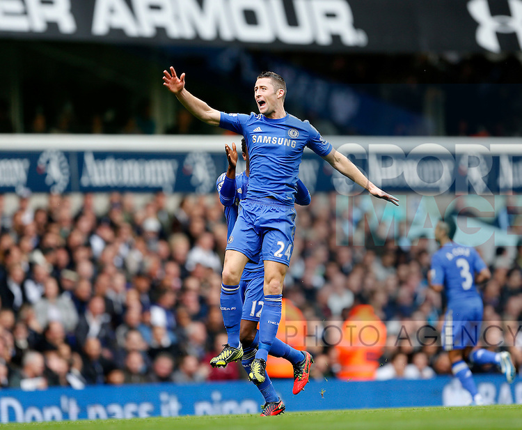 Chelsea's Gary Cahill celebrates scoring his sides opening goal..Tottenham v Chelsea - Barclays Premier League - White Hart Lane, London- 20/10/12 - Picture David Klein/Sportimage