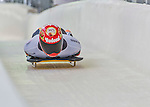 9 January 2016: Axel Jungk, competing for Germany, crosses the finish line on his second run of the day during the BMW IBSF World Cup Skeleton Championships at the Olympic Sports Track in Lake Placid, New York, USA. Jungk ended the day with a combined 2-run time of 1:49.77 and a 4th place finish. Mandatory Credit: Ed Wolfstein Photo *** RAW (NEF) Image File Available ***