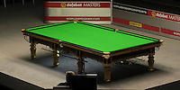 The table has been cleaned and checked ahead of the Dafabet Masters Quarter Final 1 match between Mark Allen and Barry Hawkins at Alexandra Palace, London, England on 14 January 2016. Photo by Liam Smith / PRiME Media Images