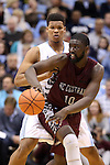 14 November 2014: NC Central's Karamo Jawara (NOR) (10) and North Carolina's Kennedy Meeks (behind). The University of North Carolina Tar Heels played the North Carolina Central University Eagles in an NCAA Division I Men's basketball game at the Dean E. Smith Center in Chapel Hill, North Carolina. UNC won the game 76-60.