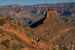 Hiker on the South Kaibab Trail descending Cedar Ridge, South Rim in Grand Canyon National Park, northern Arizona. .  John offers private photo tours in Grand Canyon National Park and throughout Arizona, Utah and Colorado. Year-round. . John offers private photo tours in Grand Canyon National Park and throughout Arizona, Utah and Colorado. Year-round.