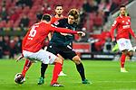 04.11.2018, Opel-Arena, Mainz, GER, 1 FBL, 1. FSV Mainz 05 vs SV Werder Bremen, <br /> <br /> DFL REGULATIONS PROHIBIT ANY USE OF PHOTOGRAPHS AS IMAGE SEQUENCES AND/OR QUASI-VIDEO.<br /> <br /> im Bild: <br /> Stefan Bell (#16, FSV Mainz) gegen Yuya Osako (#8, SV Werder Bremen)<br /> <br /> Foto © nordphoto / Fabisch