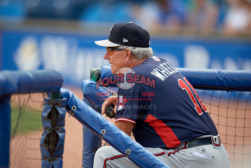 Rome Braves manager Rocket Wheeler (18) in the dugout during a game against the Lexington Legends on May 23, 2018 at Whitaker Bank Ballpark in Lexington, Kentucky.  Rome defeated Lexington 4-1.  (Mike Janes/Four Seam Images)