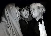 Bianca Jagger Liza Minnelli Andy Warhol at Studio 54 1978<br /> Photo By Adam Scull/PHOTOlink.net