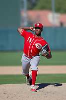 Cincinnati Reds pitcher Cory Thompson (15) delivers a pitch to the plate during an Instructional League game against the Oakland Athletics on September 29, 2017 at Lew Wolff Training Complex in Mesa, Arizona. (Zachary Lucy/Four Seam Images)